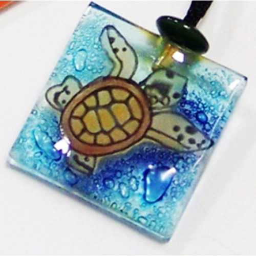 Recycled Glass Baby Sea Turtle Pendant Necklace